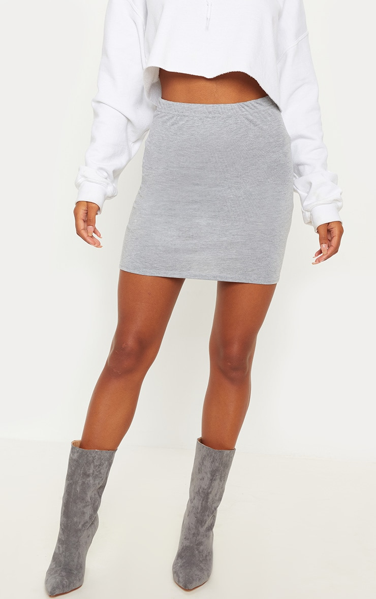 Grey Basic Jersey Mini Skirt 2
