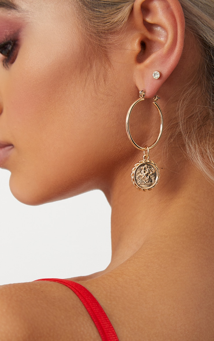 Gold Coin Drop Hoop Earrings 2