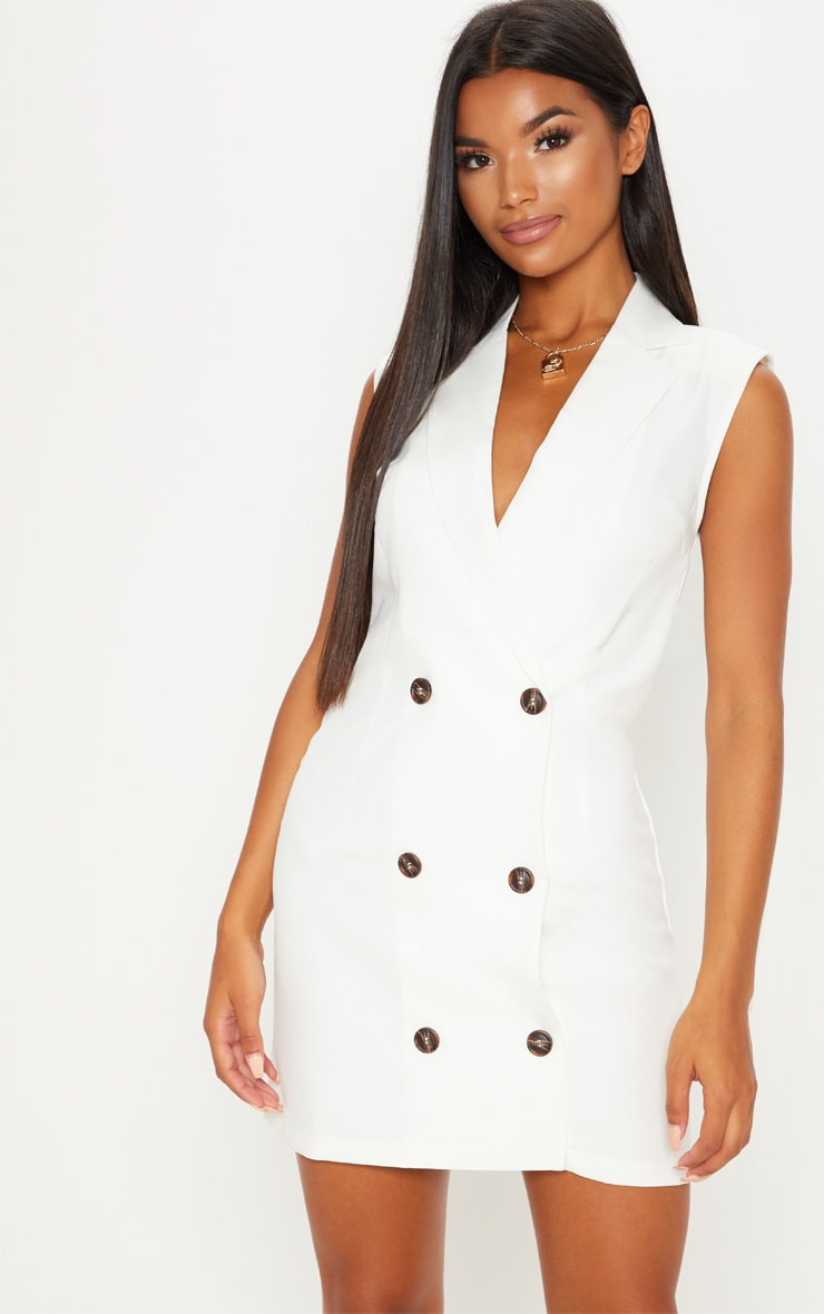 White Sleeveless Tortoise Button Detail Blazer Dress 1