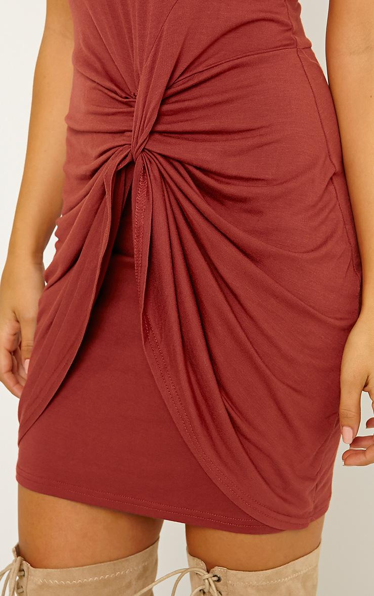 Izabella Rust Twist Front Dress 5