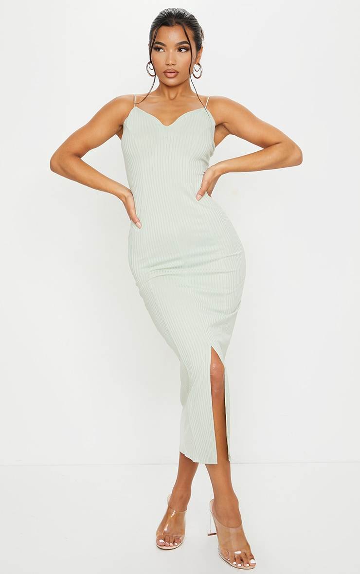 Sage Green Strappy Plunge Ribbed Midaxi Dress 1