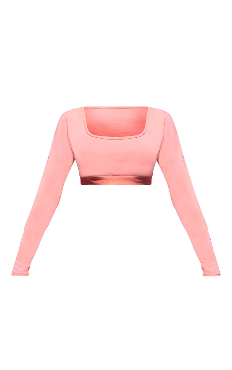 PRETTYLITTLETHING Coral Long Sleeve Crop Top 5