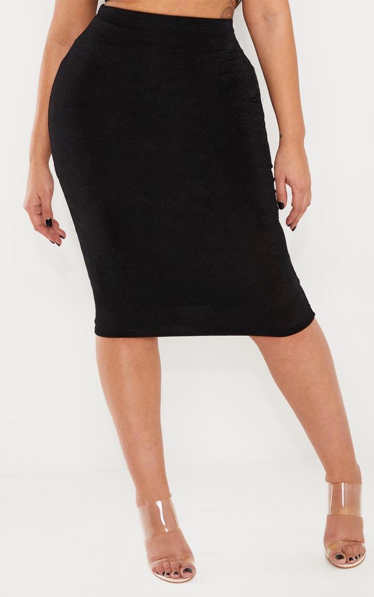 Shape Black High Waisted Slinky Midi Skirt  2