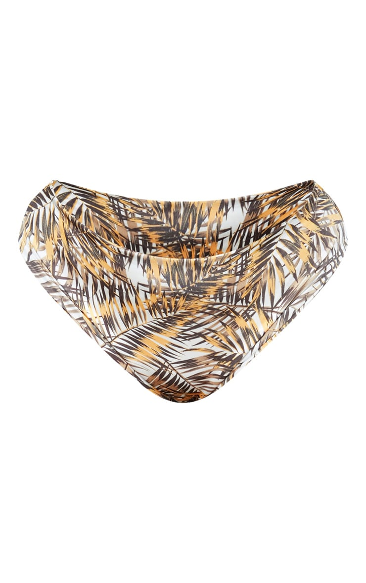 Plus Brown Leaf Print Bikini Bottom 3