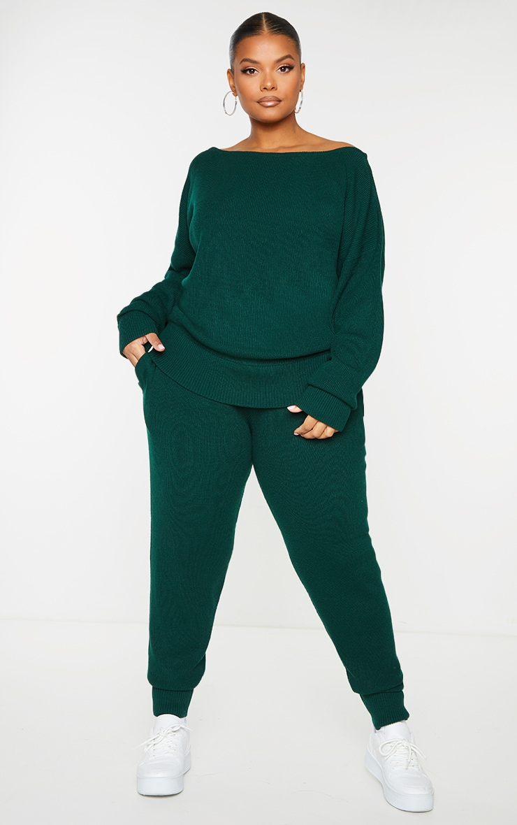 Plus Bottle Green Knitted Lounge Set 1