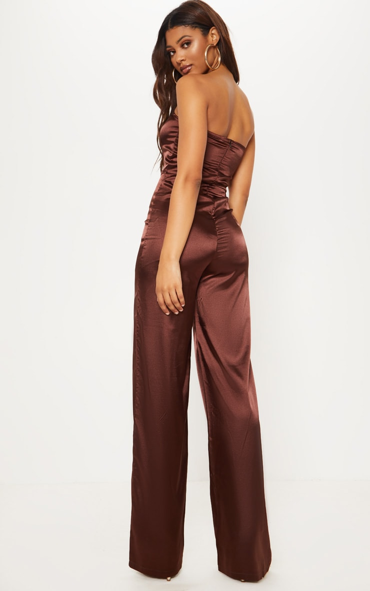 Tall Chocolate Brown Satin Bandeau Jumpsuit 2