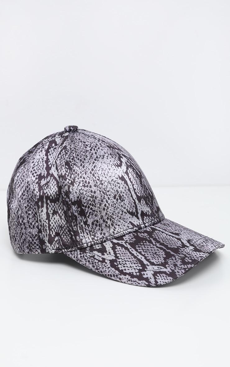 Grey Snake Printed Satin Baseball Cap 2