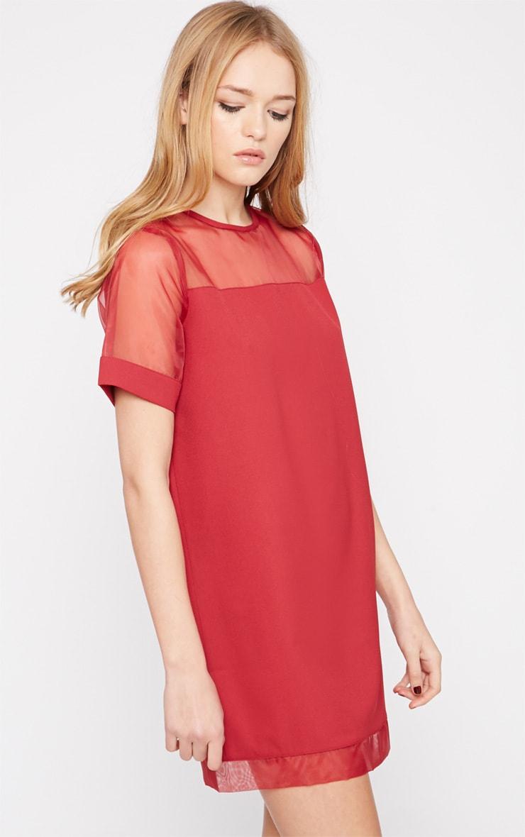 Brogan Burgundy Mesh Tshirt Dress  4