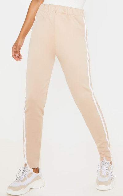 Stone Side Stripe Skinny Trouser