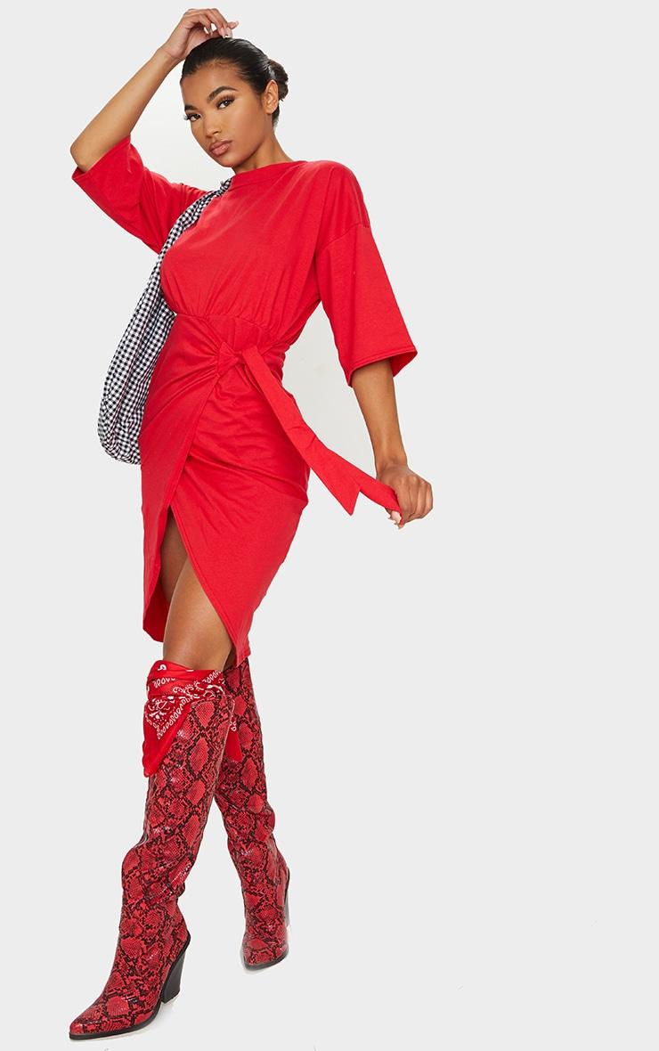 Red Wrap Tie Detail T Shirt Dress 4