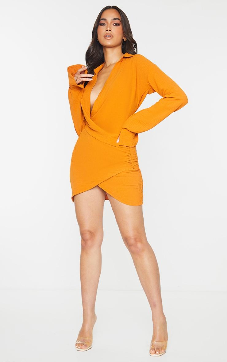 Orange Textured Woven Extreme Plunge Bell Cuff Shirt Dress image 3