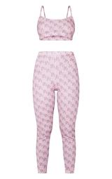 PRETTYLITTLETHING Pale Pink Monogram Legging PJ Set 5