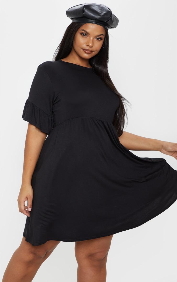 Plus Black Frill Detail Smock Dress 1