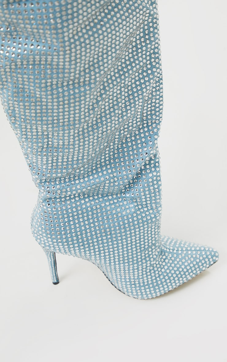 Blue Diamante Slouch Thigh High Boots 2