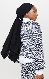 Black Zebra Print Shoulder Pad Wrap Plisse Blouse 2