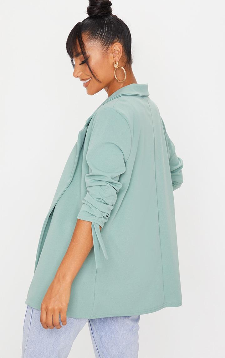 Sage Green Ruched Sleeve Blazer 2