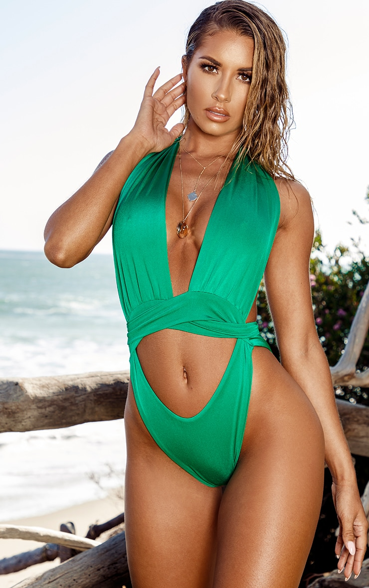 Green Halterneck Tie Waist Swimsuit 2