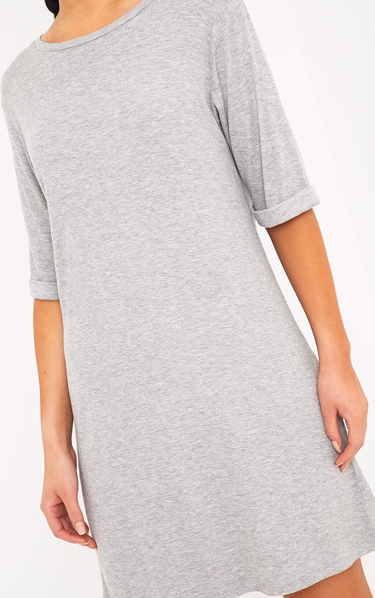 Kannah Grey Ribbed Roll Sleeve Oversized T Shirt Dress 4