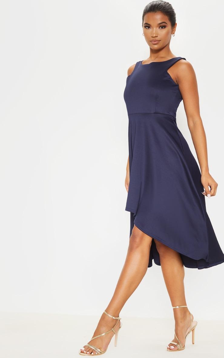 Midnight Blue Scuba Sleeveless Drop Hem Midi Dress 1