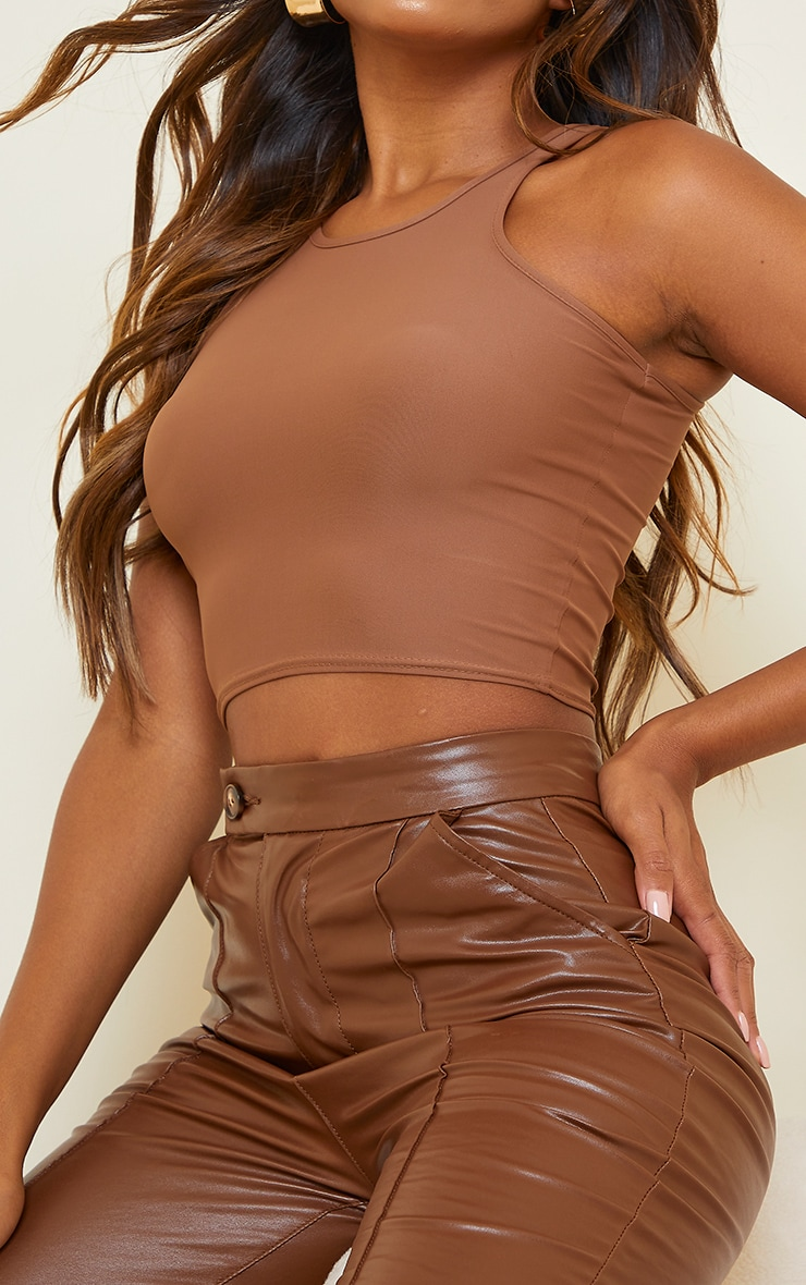 Chocolate Slinky Fitted Racer Crop Top 4