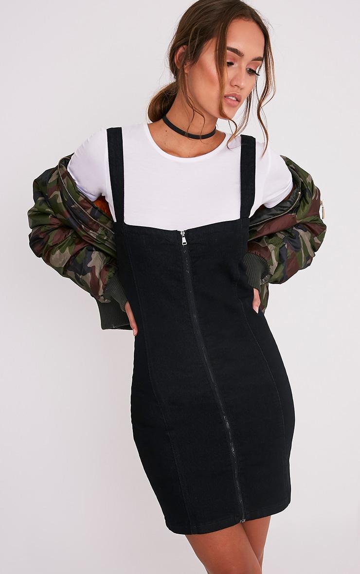 Alexae robe moulante noire en jean à fermeture sur le devant 1