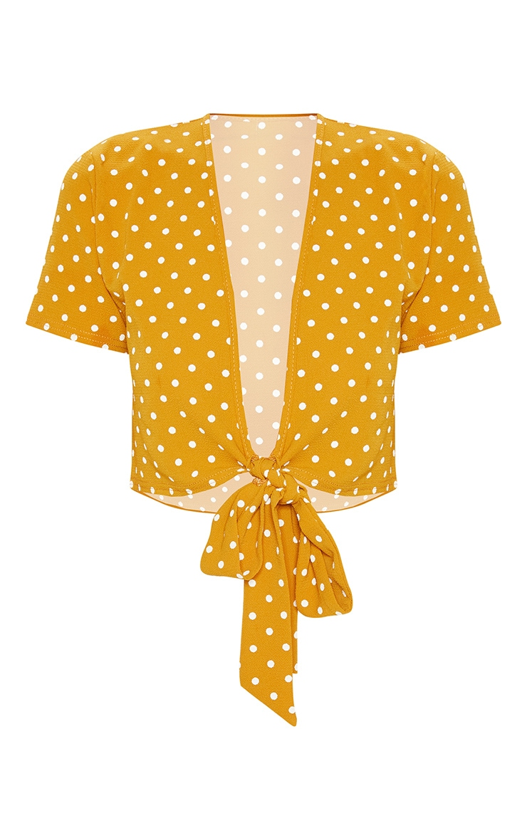 Mustard Polka Dot Chiffon Tie Front Front Blouse 3