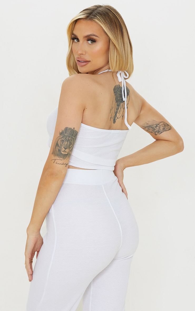 Maternity White Waffle Ruched Halter Crop Top 2