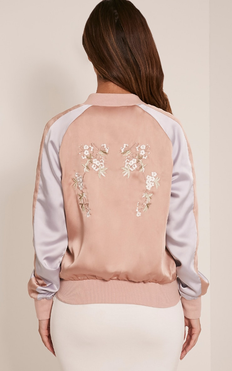 Eshe Nude Satin Embroidered Contrast Bomber Jacket ...