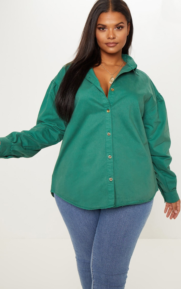 Plus Emerald Green Denim Tortoise Button Puff Sleeve Shirt 1