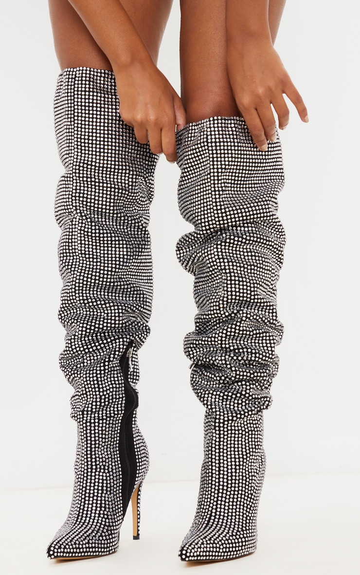 Diamante Stiletto Heel Over The Knee Boot, Diamond