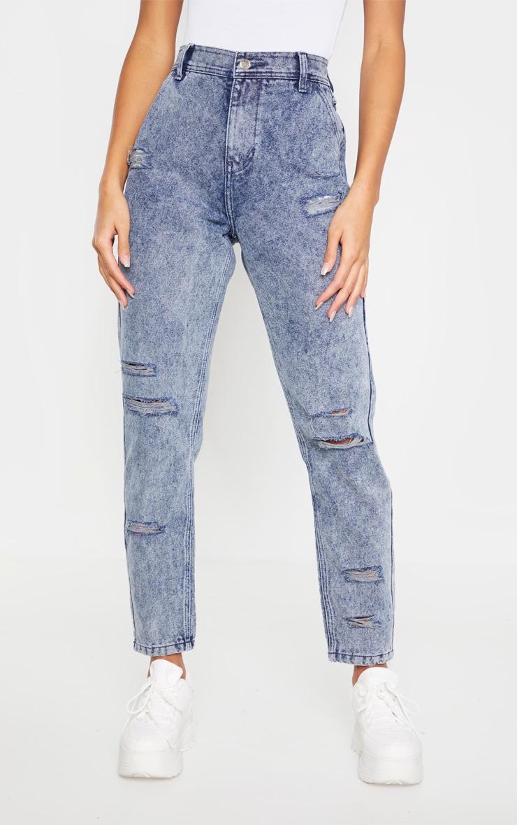 Indigo Vintage Wash Distressed Denim Jeans 2