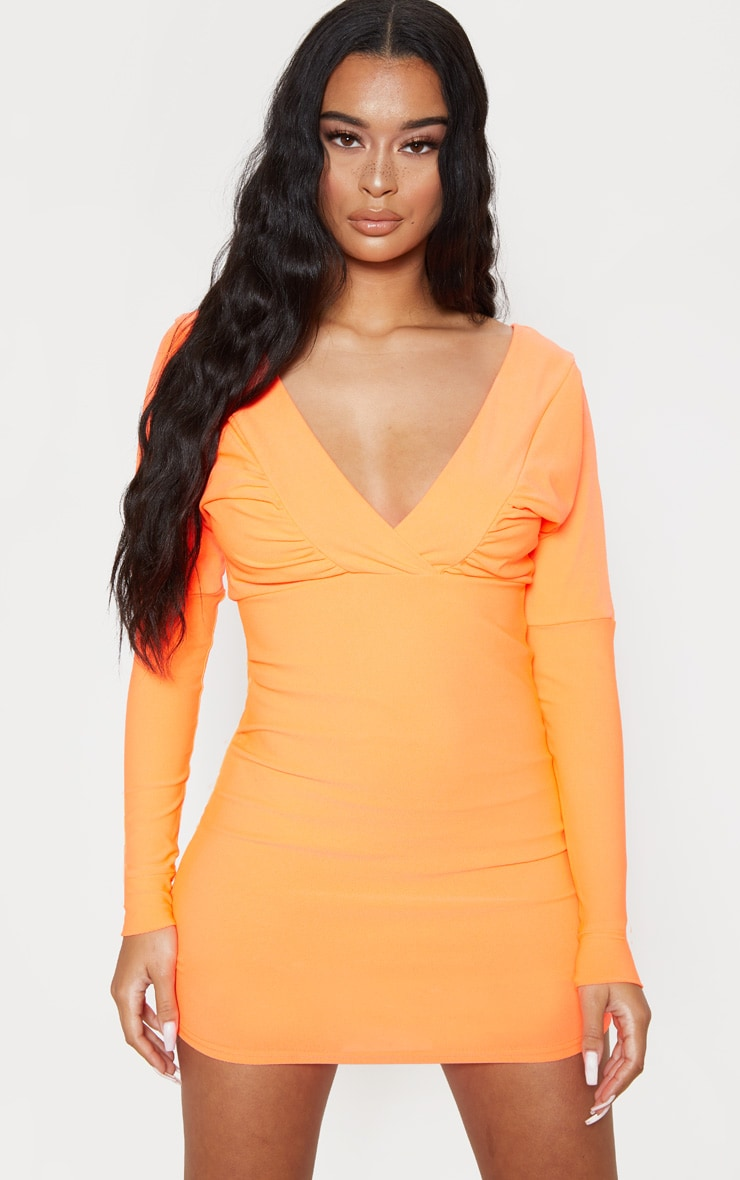 Neon Orange Plunge Ruched Front Bodycon Dress by Prettylittlething