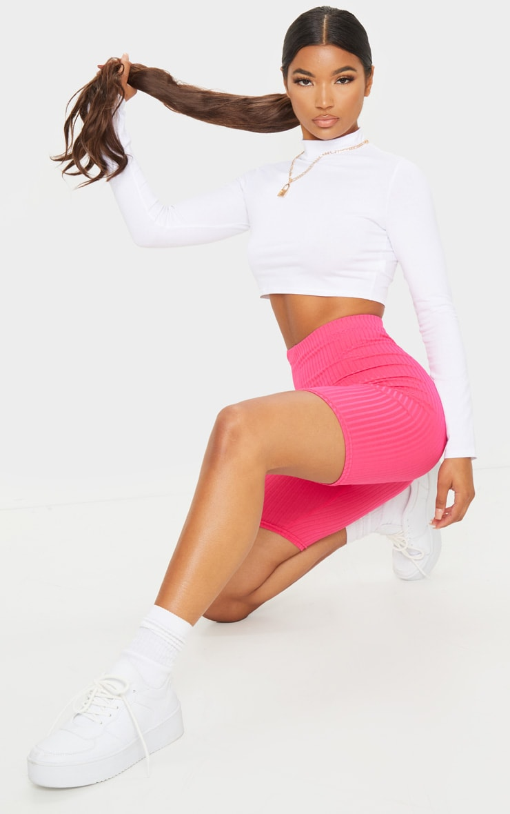 Hot Pink Ribbed Bike Shorts 1
