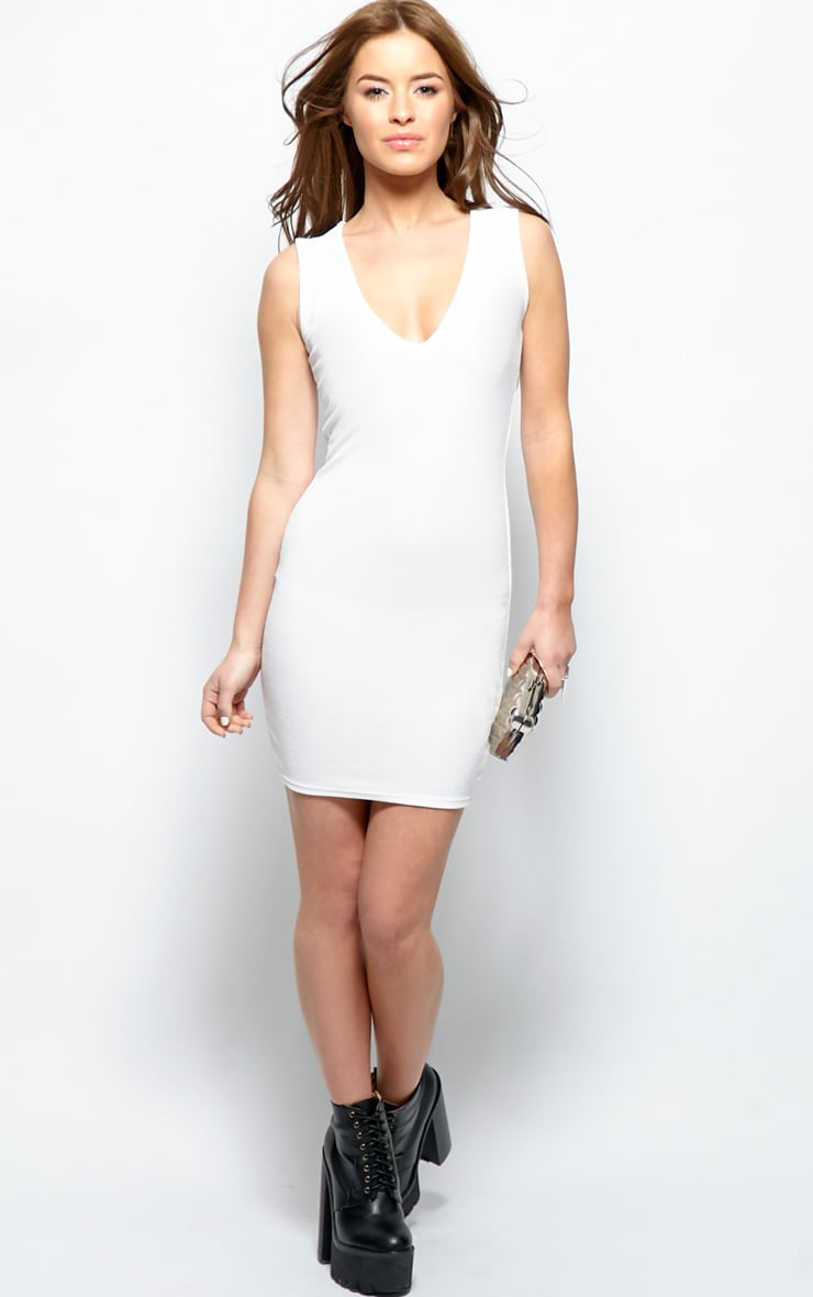 Brooke White Plunge V Neck Bodycon Dress 4