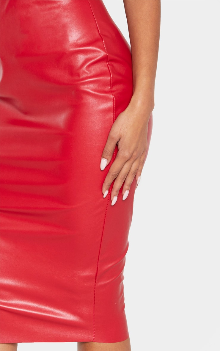 Red Basic Faux Leather Midi Skirt 5