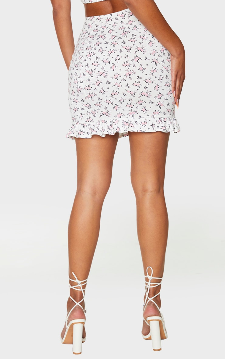 White Printed Jersey Frill Hem Mini Skirt 3
