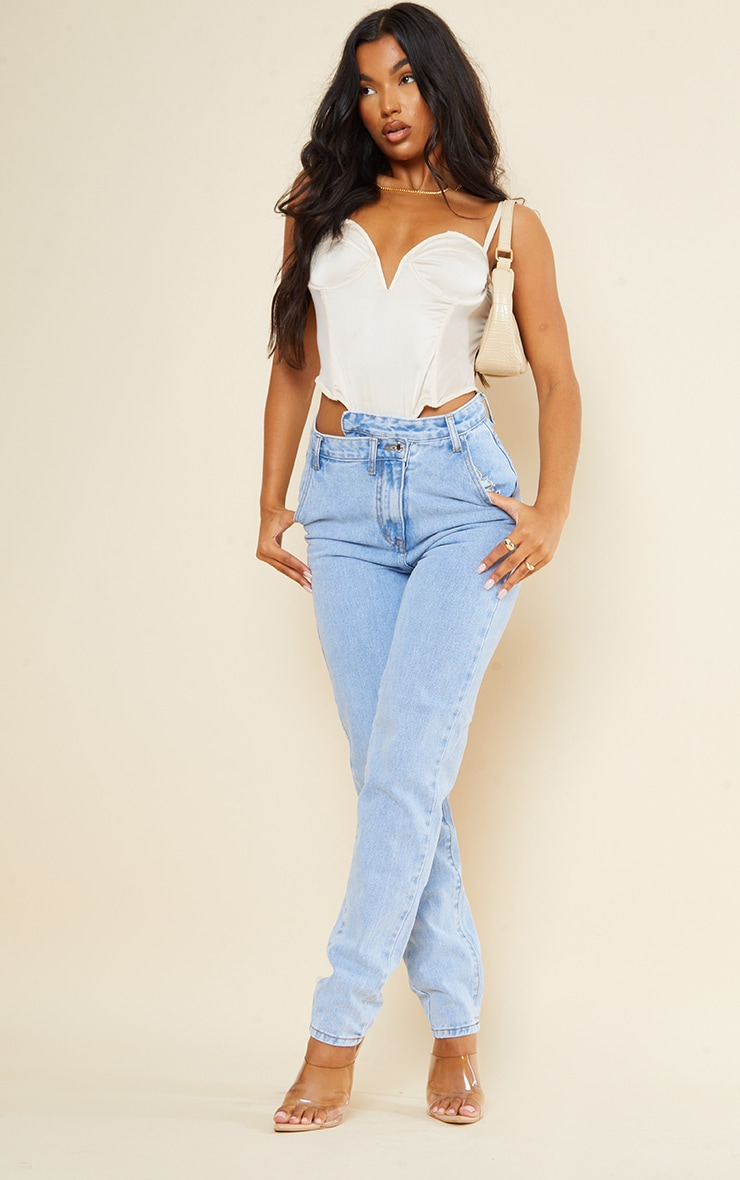 Light Blue Wash Asymmetric Waistband Long Straight Leg Jeans 1