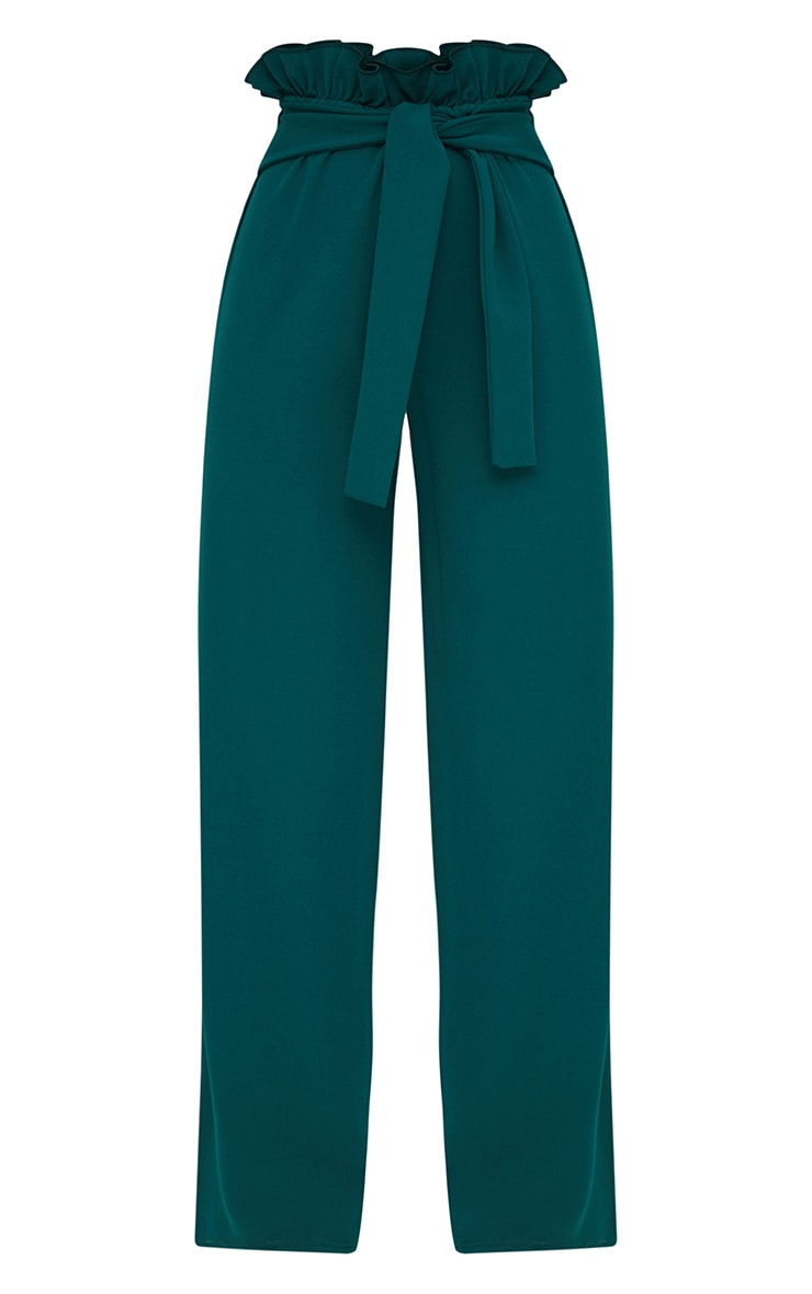 Emerald Green Crepe Paperbag Wide Leg Trousers 3