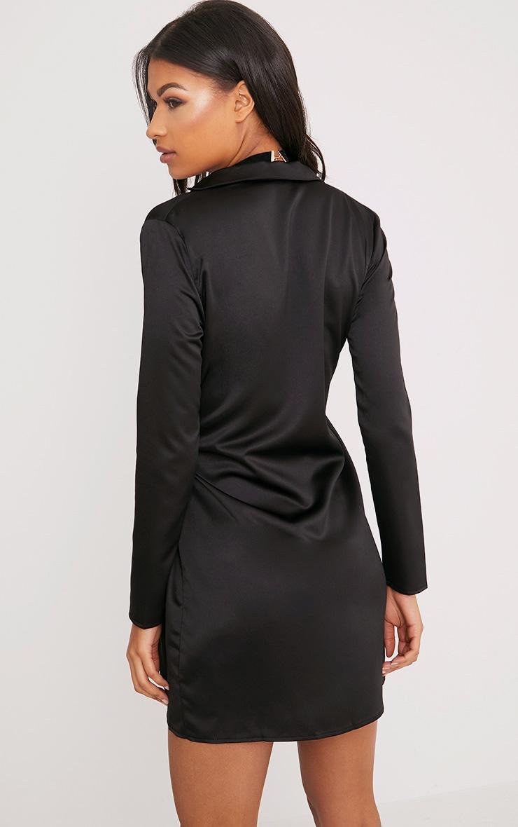 Shaylene robe chemise noire en satin à cordon à nouer à la taille 2