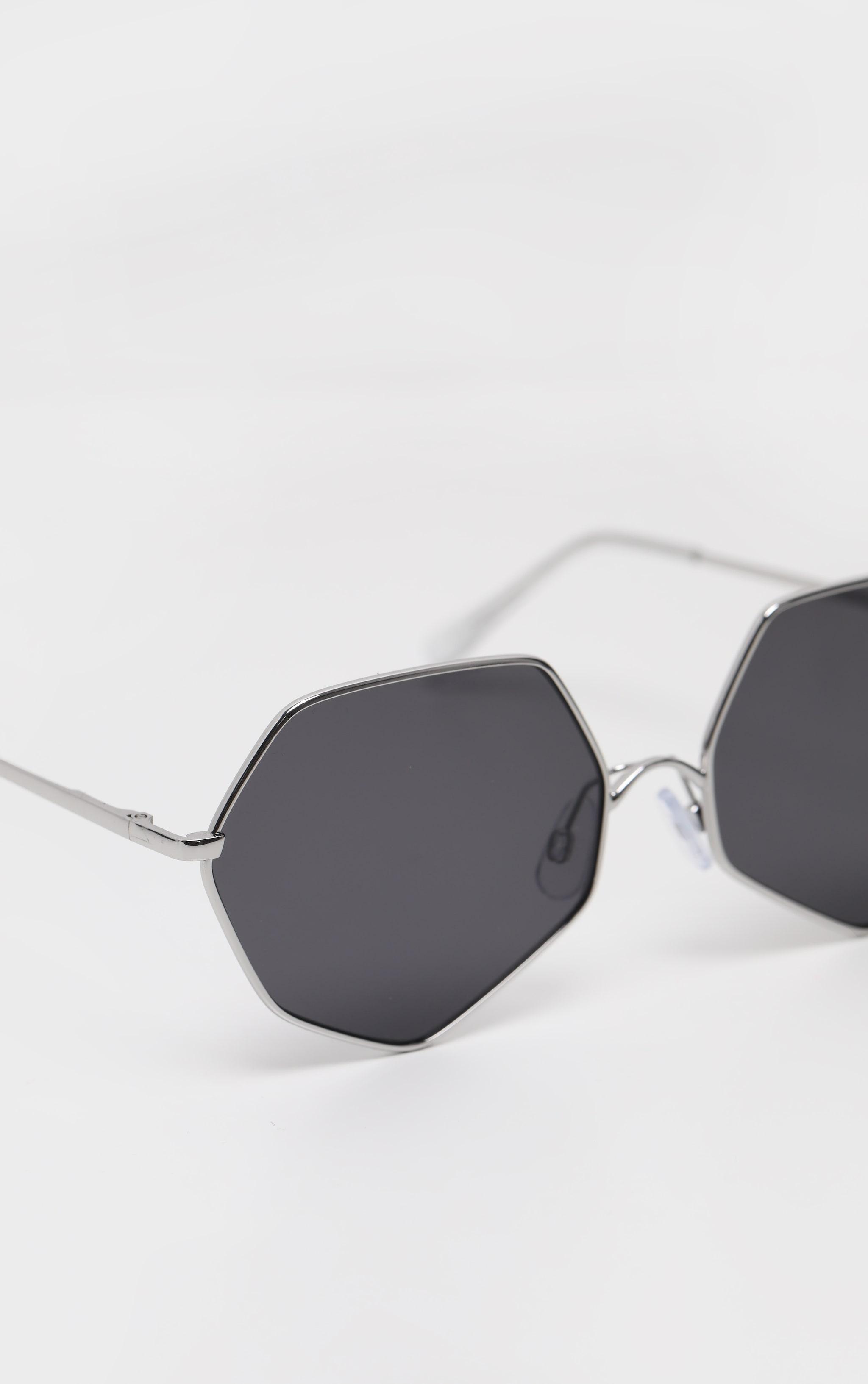 Silver Frame Black Lens Hexagon Sunglasses 4