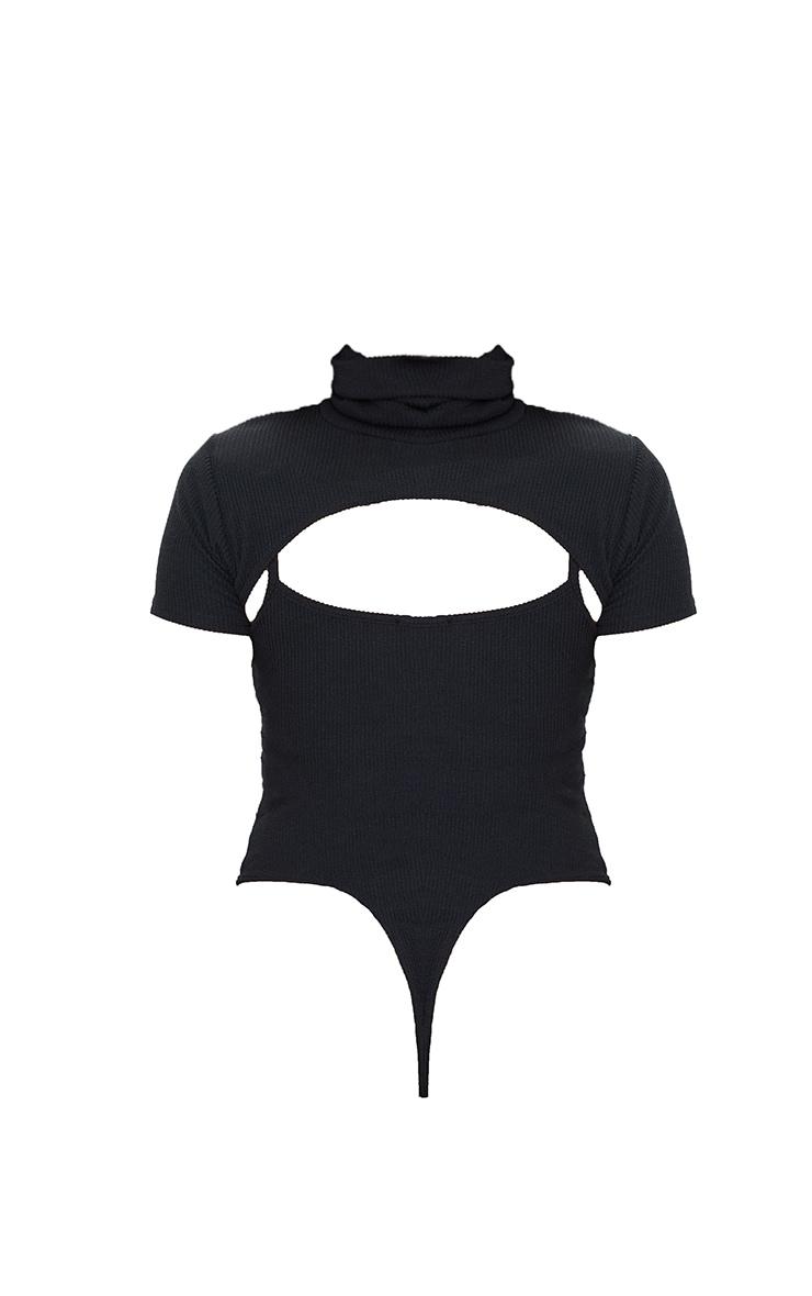Shape Black Textured Rib Cut Out High Neck Bodysuit 6