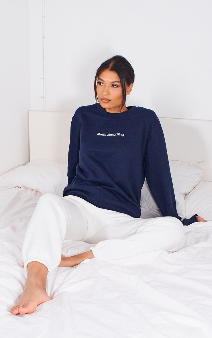 PRETTYLITTLETHING Navy Embroidered Sweatshirt 3