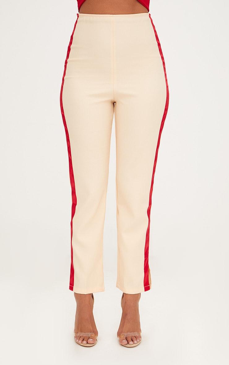 Nude Satin Stripe Formal Trousers 2