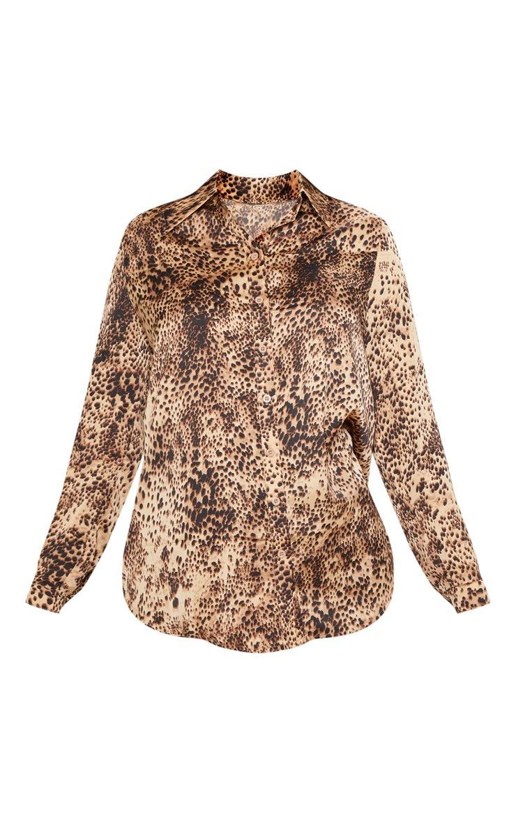 Chemise oversized à imprimé léopard brun 3