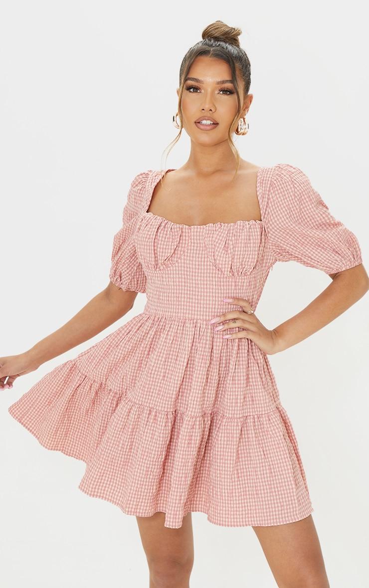 Pink Gingham Print Crinkle Underbust Detail Tiered Smock Dress