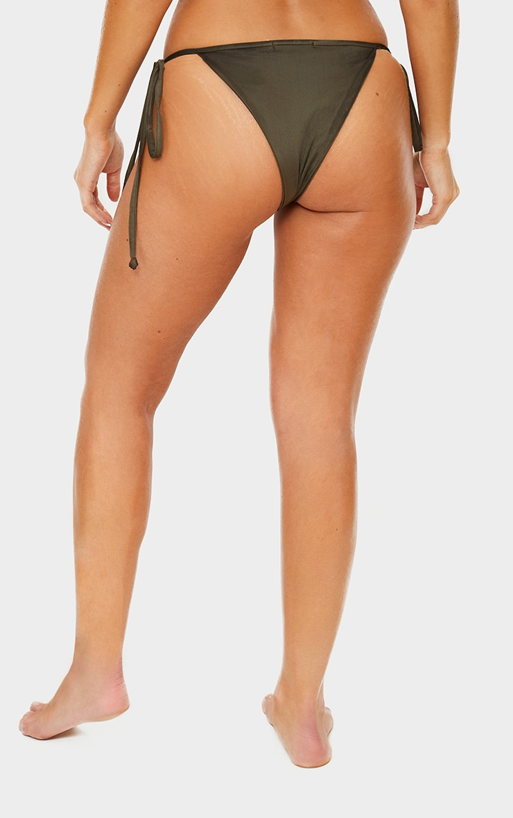 Khaki Mix & Match Adjustable Tie Side Bikini Bottom 4