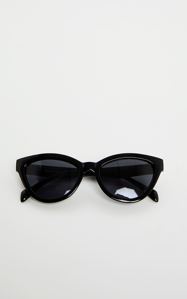Black Shiny Oversized Cat Eye Frame Sunglasses 5