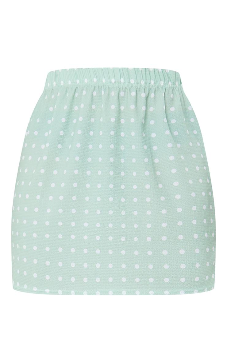Sage Green Woven Polka Dot Elasticated Waist Mini Skirt 6