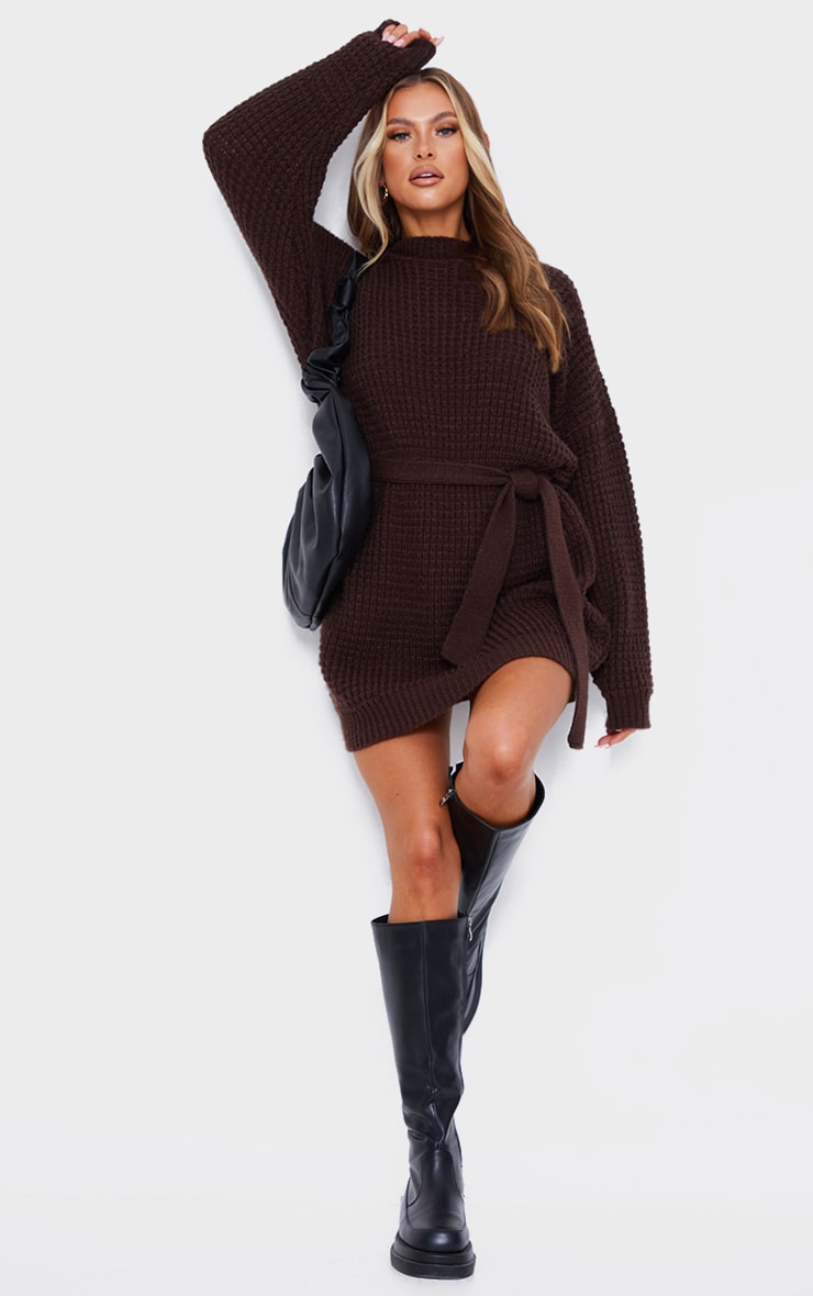Chocolate Soft Touch Belted Knitted Jumper Dress 3