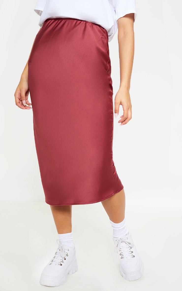 Burgundy Satin Midi Skirt  2